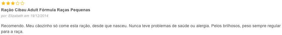 opinião de cliente sobre a Cibau
