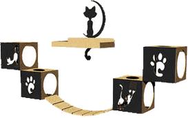 Circuito Carlu Pet House Indoor Preto para Gatos